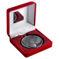 Red Velvet Box And 60mm Medal Hockey Trophy Antique Silver 4in : New 2019