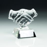 Clear Glass Hand Shake Trophy 4.25in