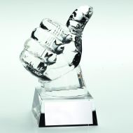 Clear Glass Thumbs Up Trophy 5.5in