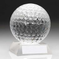 Clear Glass Golf Ball Trophy 3.75in