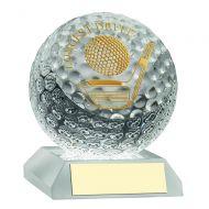 Clear Glass Golf Ball Trophy Longest Drive 3.75in