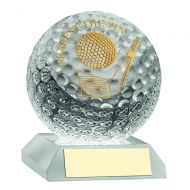 Clear Glass Golf Ball Trophy Nearest The Pin 3.75in