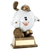 Bronze White Comedy Golf Ball Figure Trophy 5.75in : New 2019