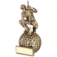Bronze/Gold Crouching Golfer On Ball Base Trophy Award - 7.75in : New 2018