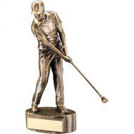 Bronze/Gold Male Mid Swing Golfer Trophy 10.75in