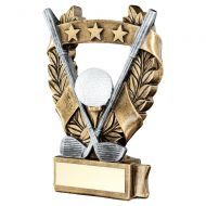 Bronze Pewter White Gold Golf 3 Star Wreath Award Trophy 5in : New 2019