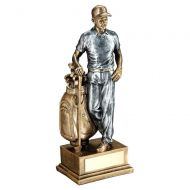 Bronze/Pewter Male Golfer And Bag Trophy - 12in