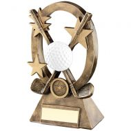 Bronze/Gold/White Golf Oval/Stars Series Trophy - 8.25in