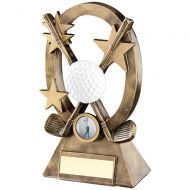 Bronze|Gold|White Golf Oval|Stars Series Trophy - Longest Drive (1in Centre) 7.25in