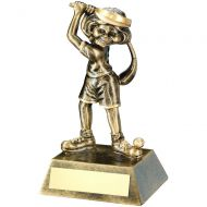 Bronze/Gold Female - Ladies Comic Golf Figure Trophy 5.5in