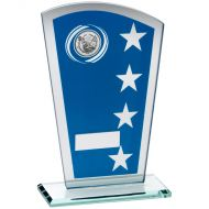 Blue/Silver Printed Glass Shield Golf Trophy - 7.25in