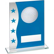 Blue/Silver Printed Glass Plaque With Golf Ball Image Trophy Award - 7.25in : New 2018