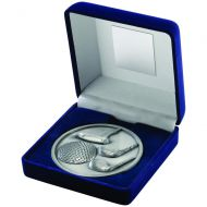 Blue Velvet Box Medallion Golf Trophy Antique Silver 4in