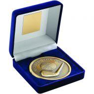 Blue Velvet Box Medal Golf Trophy Antique Gold Nearest The Pin 4in