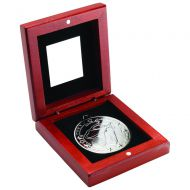 Rosewood Box Medal Golf Trophy Silver 3.75in