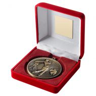 Red Velvet Box And 60mm Medal Golf Trophy Antique Gold 4in : New 2019
