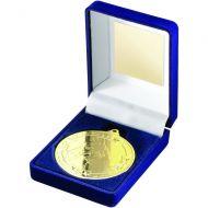 Blue Velvet Box Medal Horse Trophy Gold 3.5in