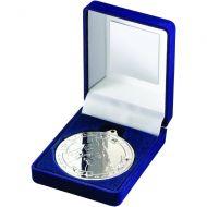 Blue Velvet Box Medal Horse Trophy Silver 3.5in