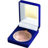 Blue Velvet Box Medal Horse Trophy Bronze 3.5in