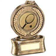Bronze/Gold Medal Ribbon Tennis Trophy - 5.75in