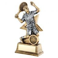 Bronze Gold Pewter Male Tennis Figure With Star Backing Trophy 9in : New 2019