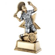 Bronze Gold Pewter Female - Ladies Tennis Figure With Star Backing Trophy 7in : New 2019