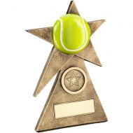 Bronze/Gold/Yellow Tennis Star On Pyramid Base Trophy - - 5in