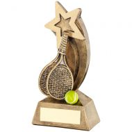 Bronze|Gold|Yellow Tennis Rackets|Ball With Shooting Star Trophy - 5.75in