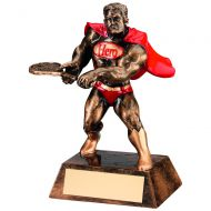Bronze/Gold/Red Resin Tennis Hero Trophy 6in