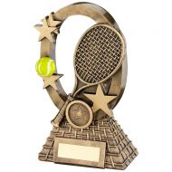 Bronze/Gold/Yellow Tennis Oval/Stars Series Trophy - 7.25in