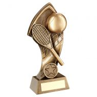 Bronze Gold Tennis With Twisted Backdrop Trophy 5in : New 2019
