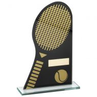 Black|Gold Printed Glass Plaque With Tennis Racket|Ball Trophy - 7.25in