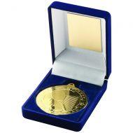 Blue Velvet Box Medal Tennis Trophy Gold 3.5in