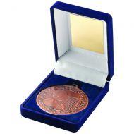 Blue Velvet Box Medal Tennis Trophy Bronze 3.5in