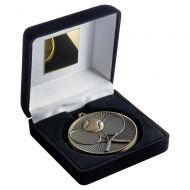 Black Velvet Box And 60mm Medal Tennis Trophy Antique Silver 4in : New 2019