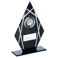 Black Silver Printed Glass Diamond With Gaelic Football Insert Trophy 8in : New 2019