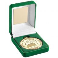 Green Velvet Box Medal Gaelic Football Trophy Gold 3.5in