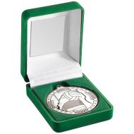 Green Velvet Box Medal Gaelic Football Trophy Silver 3.5in