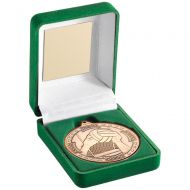 Green Velvet Box Medal Gaelic Football Trophy Bronze 3.5in