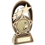 Bronze Gold Generic Tri-Star Oval With Shooting Insert Trophy 7.25in : New 2019