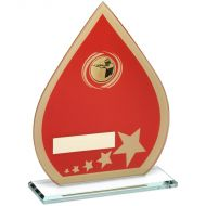 Red/Gold Printed Glass Teardrop Shooting Trophy - 8in