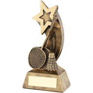 Bronze/Gold Badminton Rackets/Shuttlecock Shooting Star Trophy - 5.75in