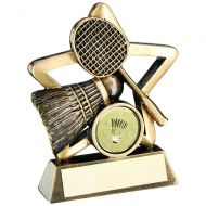 Bronze/Gold Badminton Mini Star Trophy 4.25in