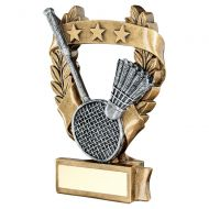 Bronze Pewter Gold Badminton 3 Star Wreath Award Trophy 7.5in : New 2019