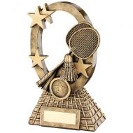 Bronze/Gold Badminton Oval/Stars Series Trophy - 7.25in
