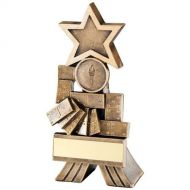 Bronze/Gold Dominoes Shooting Star Trophy 6in