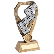 Bronze Pewter Gold Dominoes On Diamond Trophy Award 8in : New 2020
