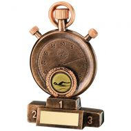 Bronze/Gold Swimming Stopwatch On Podium Trophy 5.25in