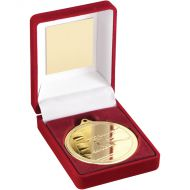 Red Velvet Box Medal Swimming Trophy Gold 3.5in