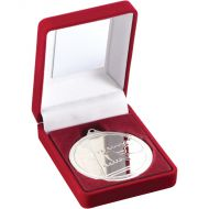 Red Velvet Box Medal Swimming Trophy Silver 3.5in